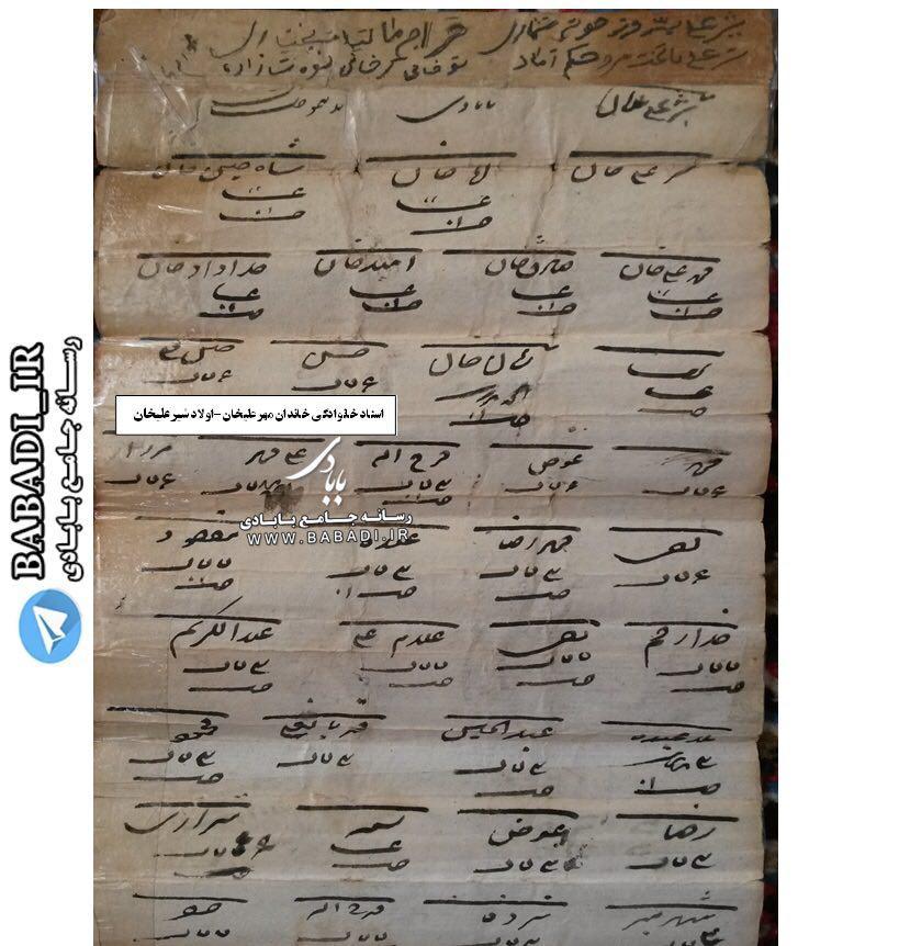 سند تاريخي مالیاتی مربوط به ایل بابادی