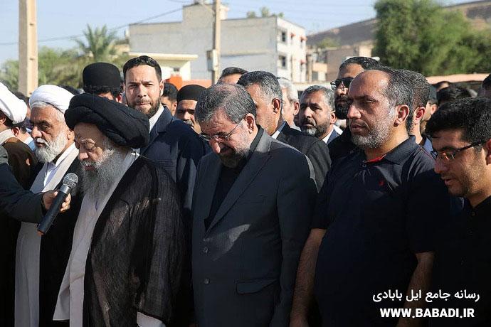 تصاویری از مراسم تشییع و ترحیم خواهر دکتر محسن رضایی در مسجدسلیمان